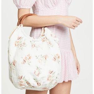 NWT LoveShackFancy Fae Floral Wood Reversible Bag
